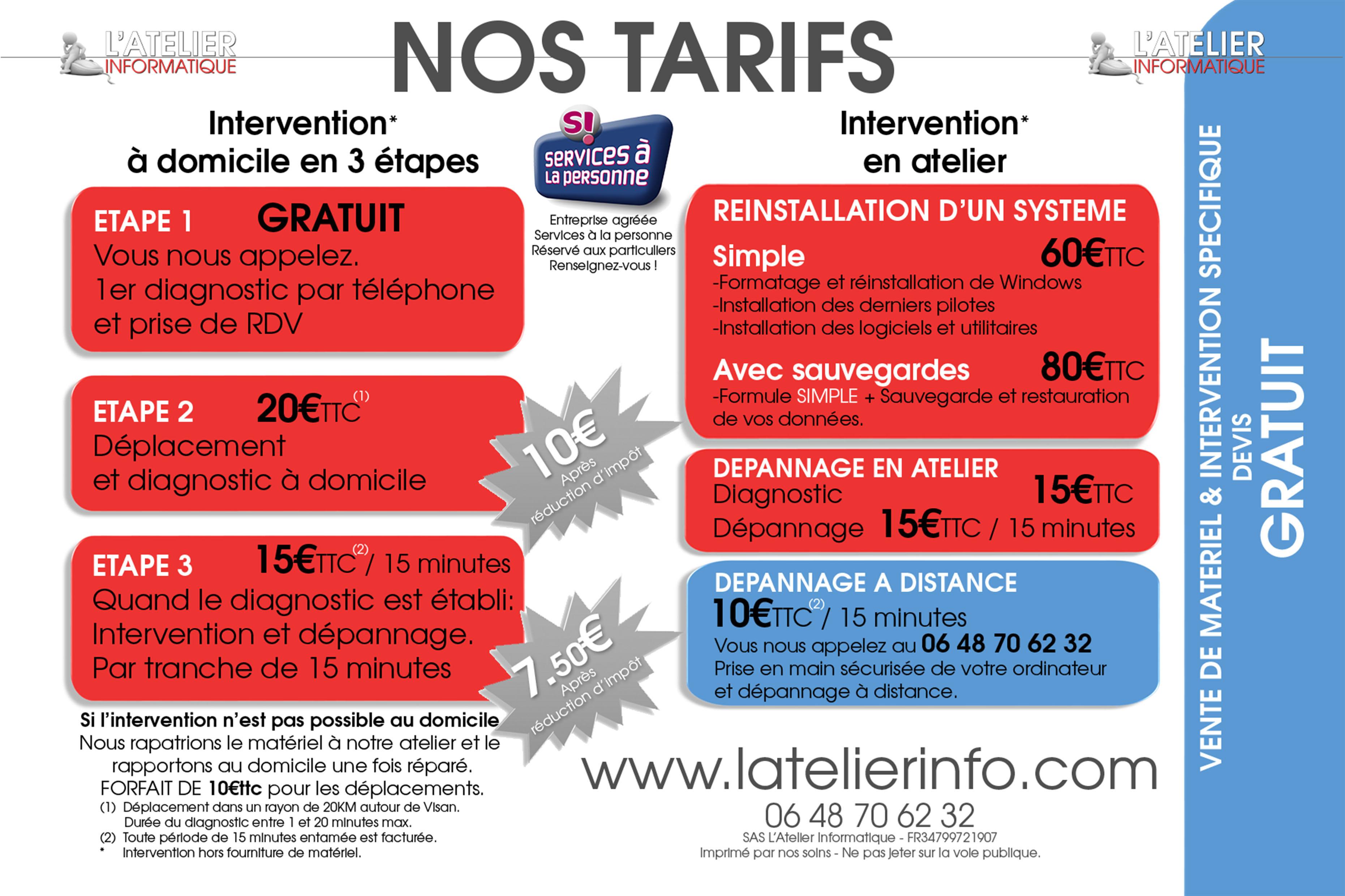D pannage informatique domicile carnet de l 39 enclave for Tarif paysagiste conseil